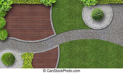 conception jardin, dans, vue dessus