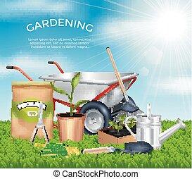 conception, jardinage, concept, outils, ensemble