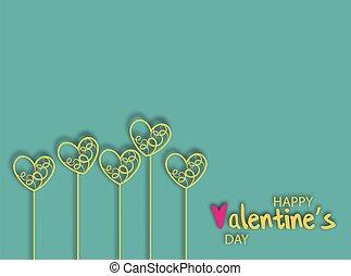 conception, jour, résumé vert, design., fond, beau, décoration, coeur, célébration, arrière-plan., or, valentines, image, décoratif
