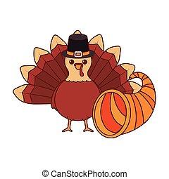 conception, jour, vecteur, turquie, corne, thanksgiving, abondance