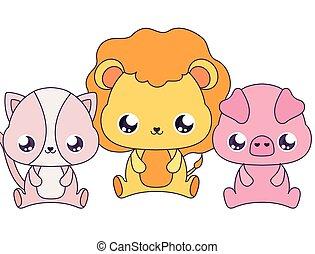 conception, lion, vecteur, dessins animés, manchots, chat, kawaii