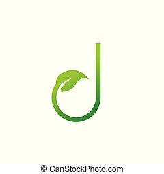 conception, logo, feuille, lettre, j, éléments