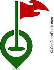 conception, logo, golf, pushpin, icône