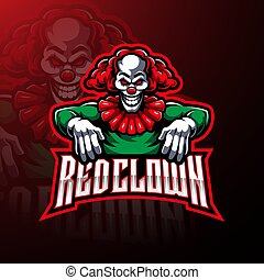 conception, logo, mascotte, sport, clown, rouges