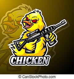 conception, logo, poulet, mascotte, esport