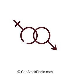 conception, mâle, femme, isolé, vecteur, symboles