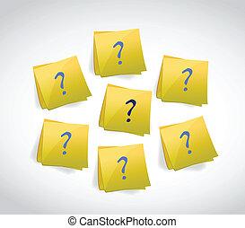 conception, marque, poteaux, illustration, question