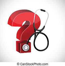 conception, marque, stéthoscope, illustration, question