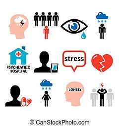 conception, mental, concept, santé, déprimé, dépression, ensemble, -, poeple, tension, icônes, inquiétude, vecteur
