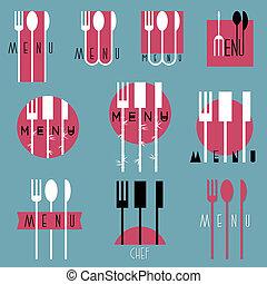 conception, menu restaurant, collection, divers, élégant