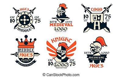conception, milieu, illustration, moyen-âge, prime, insignes...