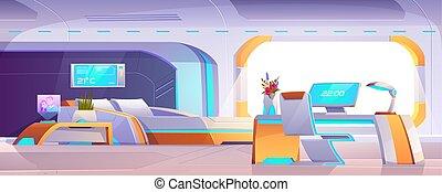 conception, mobilier chambre, appartement, futuriste