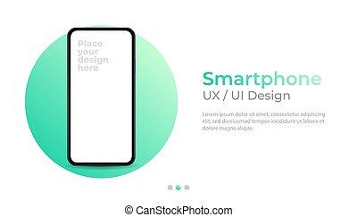 conception, mockup., ui, vide, bannière, interface., écran, smartphone, gabarit