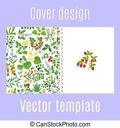 conception modèle, baies, couverture, herbes