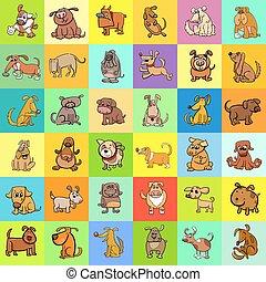conception modèle, dessin animé, chiens