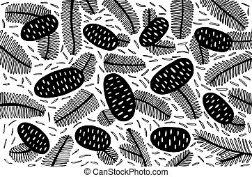 conception, moderne, prospectus, sapin, ornement, -, griffonnage, minimal, éléments, forêt, design., noir, branches, fond, ligne, cône, pattern., art, illustration., pin, blanc, cônes