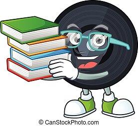 conception, musique, livres, mascotte, disque, étudiant, avoir, viynl