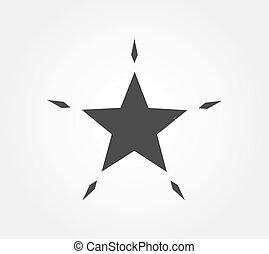 conception, noir, icon., étoile, plat, scintillement