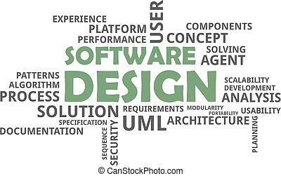 conception, -, nuage, mot, logiciel