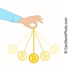 Coin swing like a pendulum. - Conception of exchange rate...