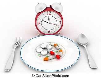 Conception of reception of pills. - Pills on a dinner dish...