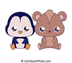 conception, ours, dessins animés, vecteur, manchots, kawaii