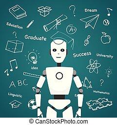 conception, pédagogique, intelligent, robot, icônes