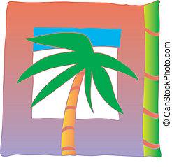 conception, palmier, coloré