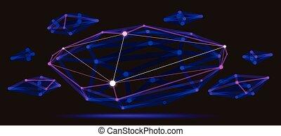 conception, points, style, réaliste, forme, résumé, technologie, polygonal, connexions, science, dynamique, maille, profondeur, 3d, dimensionnel, numérique, treillis, champ, effect., lignes, vecteur, abstraction