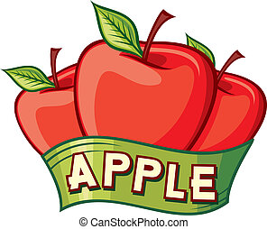 conception, pomme, étiquette