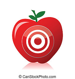 conception, pomme, illustration, cible