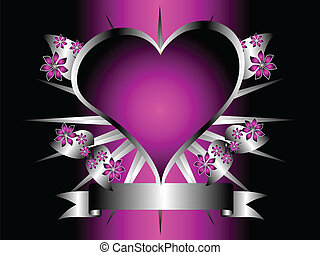 conception, pourpre, gothique, floral, cœurs, argent