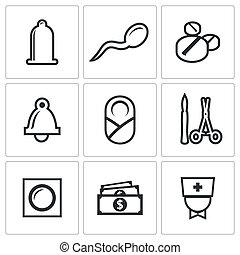Conception, pregnancy, birth icon set