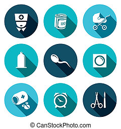 Conception, pregnancy, birth icon collection on a colored background