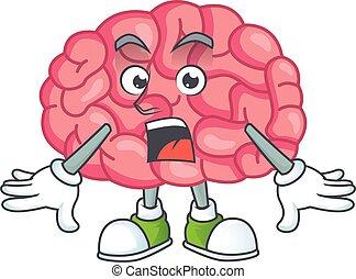 conception, projection, cerveau, stupéfié, dessin animé, geste
