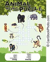 conception, puzzle, jeu mots, animal