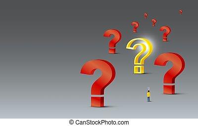 conception, question, 3d, fond, regarder, lumière, problème, gris, résoudre, concept, gens, jaune, vecteur, illustration, marque, ampoule