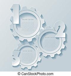 conception, résumé, moderne, roues dentées, infographics