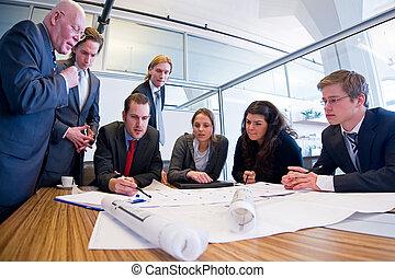 conception, réunion, équipe