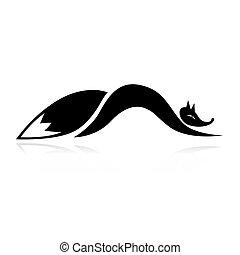 conception, renard, silhouette, ton