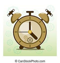 conception, reveil, vieux, vendange, figure, horloge, retro, temps, modèle, steampunk, plat