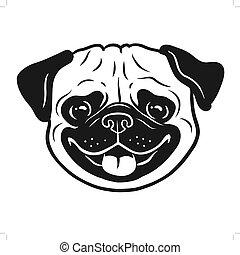 conception, rigolote, chiens, themed, logo., face., chien pug, main, noir, portrait., animaux familiers, icône, dessiné, sourire, élément, blanc, dessin animé, heureux