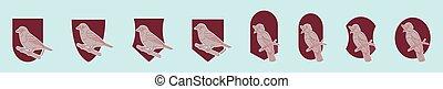 conception, rossignol, icône, oiseau, dessin animé, modèles, bleu, divers, ensemble, more., illustration, logo, gabarit, vecteur, fond, isolé