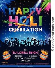 conception, salutations, célébration, holi, inde, carte, heureux, résumé, coloré, couleur d'arrière-plan, festival