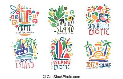 conception, seychelles, crète, îles, exotique, ibiza, logo,...