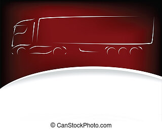conception, silhouette, camion, fond, rouges