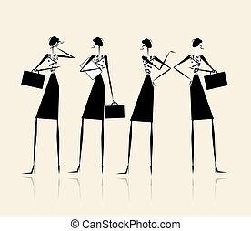 conception, silhouette, ton, business, dames