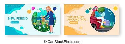conception, site, hood., nourrit, voiture, park., femme, culture, toile, vecteur, illustration., jeunesse, girl, concept, adolescent, jeune, séance, gabarit, oiseaux