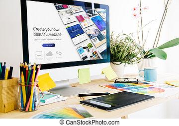 conception, site web, constructeur, studio, graphique