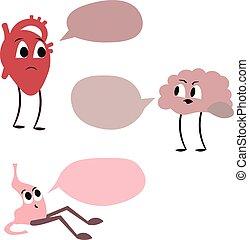 conception, stomach., cerveau, comics., poster., coeur, monde médical, entre, conflit